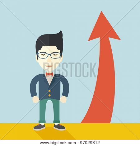 An asian businessman standing beside the red arrow pointing up. Successful business concept. A Contemporary style with pastel palette, soft blue tinted background. Vector flat design illustration