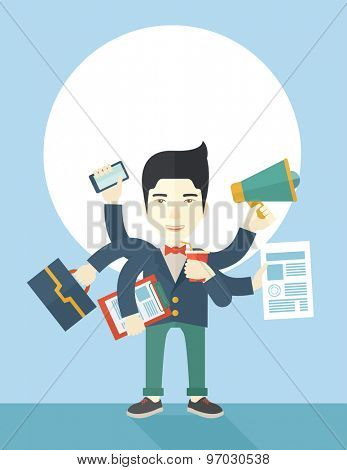 A young but happy japanese employee has six arms doing multiple office tasks at once as a symbol of the ability to multitask, performing multiple task simultaneously. Multitasking concept. A