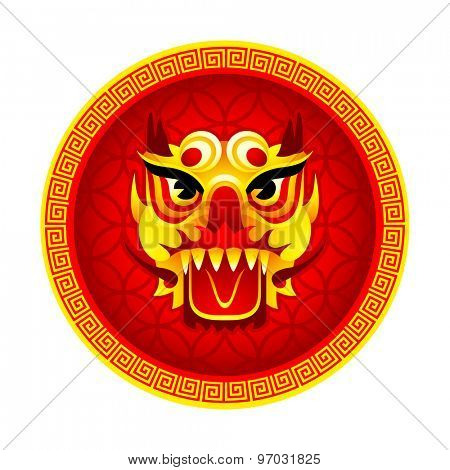 Chinese New Year round Lion mask symbol