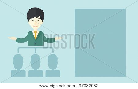 An asian smart gentleman giving a business to his co workers. Business concept. A Contemporary style with pastel palette, soft blue tinted background. Vector flat design illustration. Horizontal