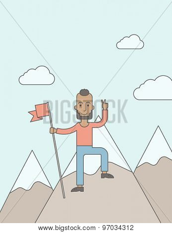 A happy caucasian businessman with pretty good tan skin standing on the top of a mountain with snow holding a red flag. Cheerful, winner and leader concept. A Contemporary style with pastel palette