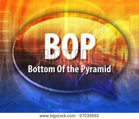 word speech bubble illustration of business acronym term BOP Bottom of the Pyramid