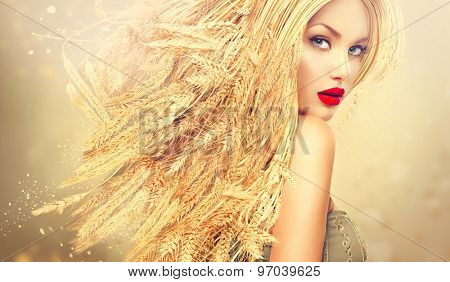 Beauty Fashion model girl with gold long wheat ears hair. Beautiful Fashion art portrait of young sexy blonde woman with wheat hairstyle. Organic cosmetic products for healthy hair concept