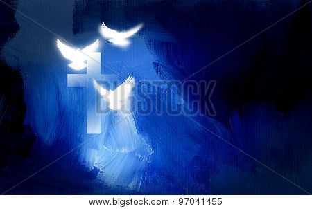 Christian cross and doves