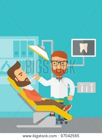 A caucasian dentist man examines a patient teeth in the clinic. Contemporary style with pastel palette, blue tinted background. Vector flat design illustrations. Vertical layout with text space on top