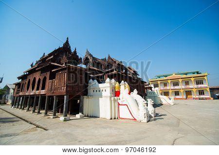 Old Teak Wood Shwe Yan Pyay Monastery in Inle lake, Myanmar