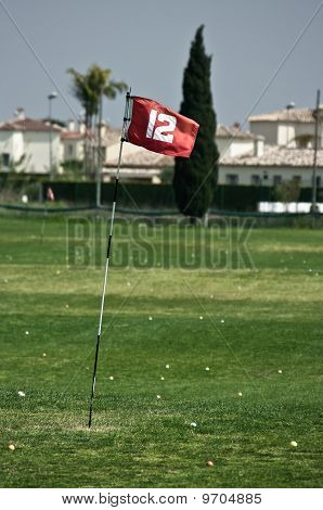 Red flag on golf driving range