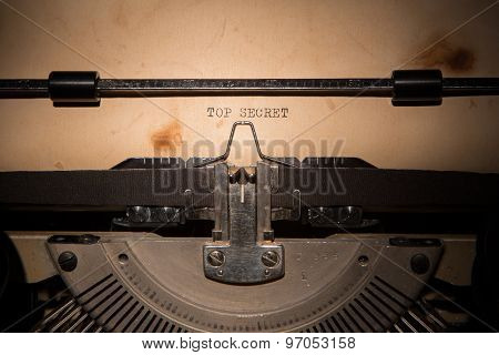 Top Secret Message Printed On Typing Machine
