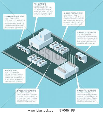 Vector 3d flat isometric office building roof with air conditioner poster