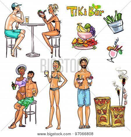 Tiki Bar People, Hand drawn vector