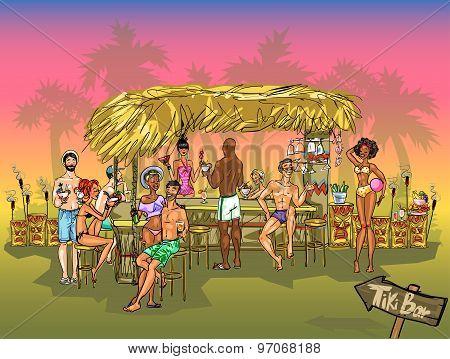 People at Tiki Bar