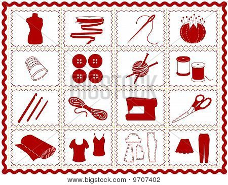 Tools & supplies icons for sewing, tailoring, dressmaking, needlework, quilting, darning, textile arts, crafts & do it yourself projects in red rick rack frame. EPS8 organized in groups for easy editing. poster