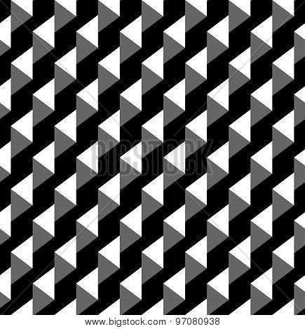 Black And White Geometric Seamless Pattern With Triangle And Trapezoid, Abstract Background.