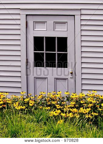 Grey Door With Flowers
