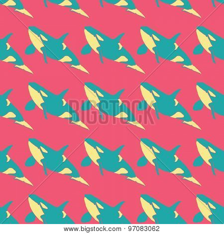 Grampus seamless vector pattern in neon colors