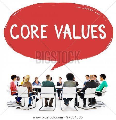 Core Values Core Focus Goals Ideology Main Purpose Concept poster