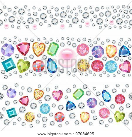 Seamless scattered gems, rhinestones isolated on white background