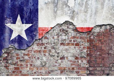 Texas Flag On Grungy Wall