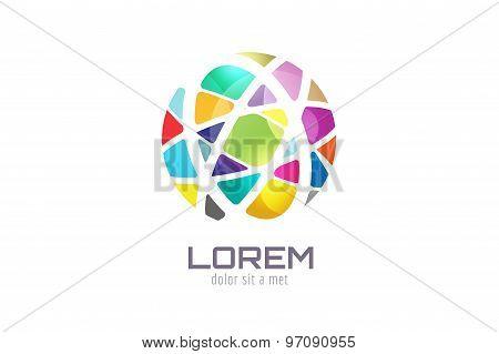 Vector globe abstract logo template. Circle shape and symbol, icon, creative, idea, flow, earth, lin