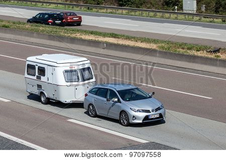Toyota Auris With A Caravan