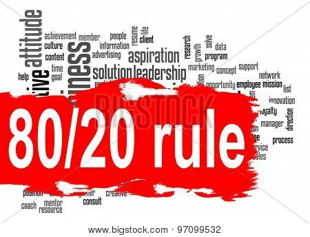 Rule 80 20 word cloud with red banner image with hi-res rendered artwork that could be used for any graphic design. poster