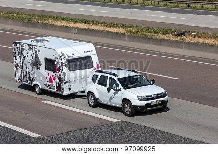 Dacia Duster With A Sunlight Njoy Caravan