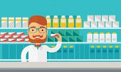 A Young  pharmacy chemist man standing in drugstore. Contemporary style with pastel palette, blue tinted background. Vector flat design illustrations. Horizontal layout. poster