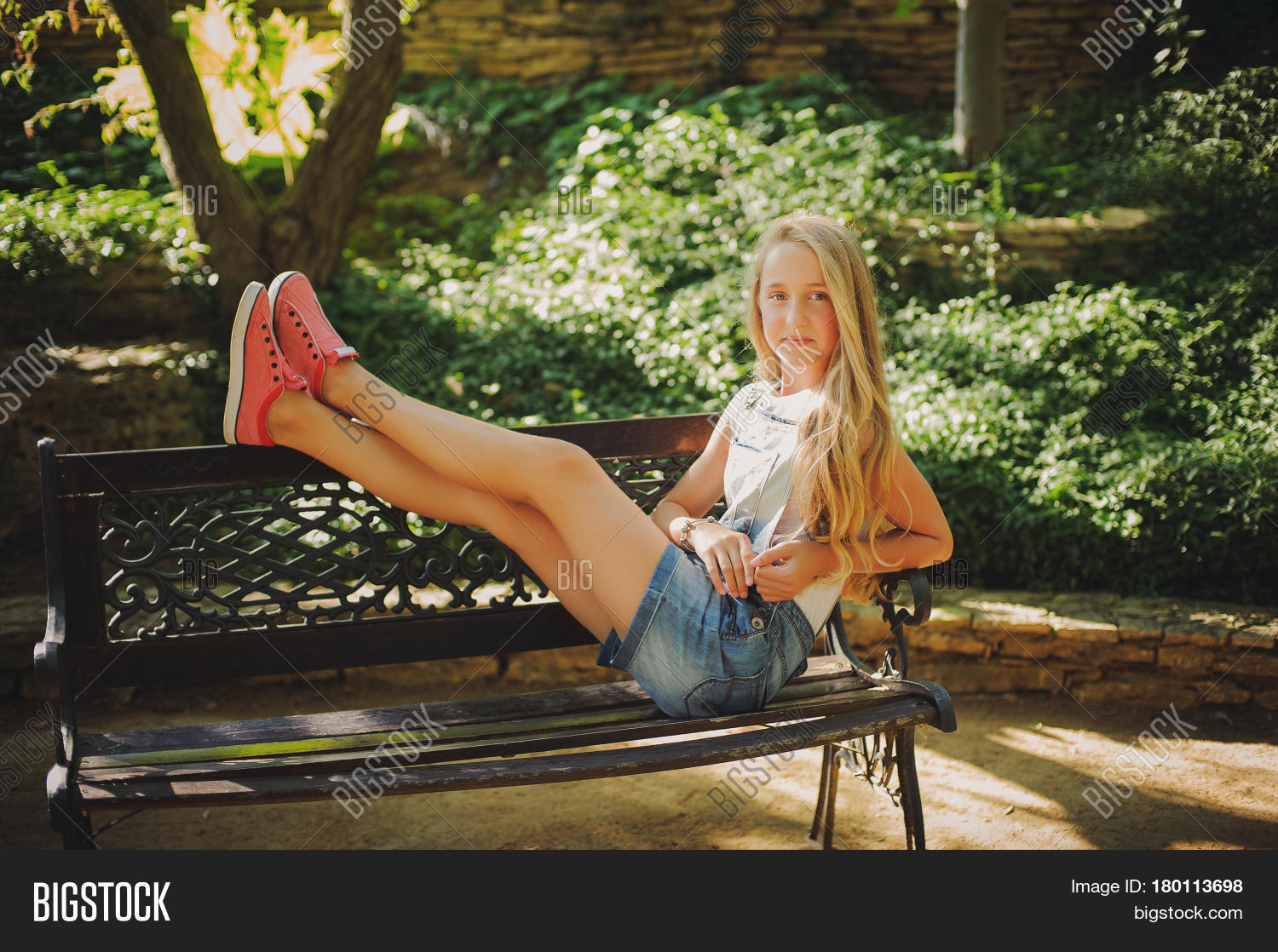 young girl sitting on image photo free trial bigstock