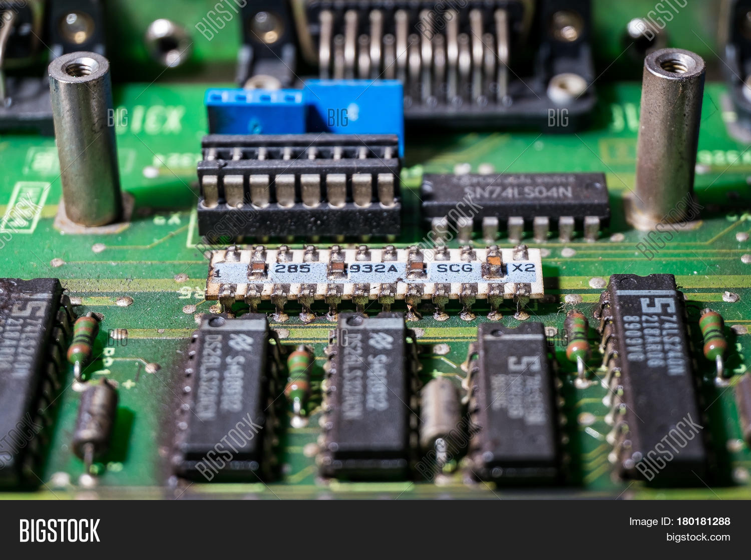 Different Microchips Image Photo Free Trial Bigstock Picture Of Old Circuit Board And Transistors On An