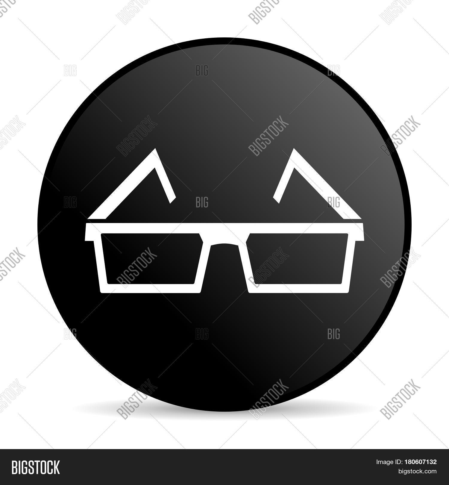 e2ec96b4c5e 3d glasses black color web design round internet icon on white background.