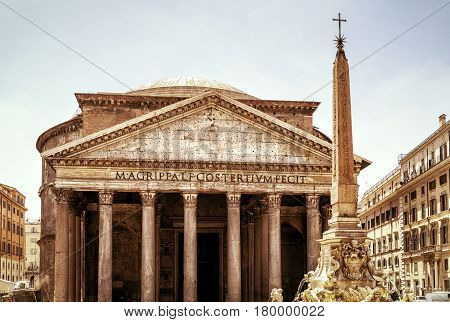 The Pantheon in Rome, Italy. The Roman Pantheon was built in the 2nd century and is one of the major tourist attractions of Rome.