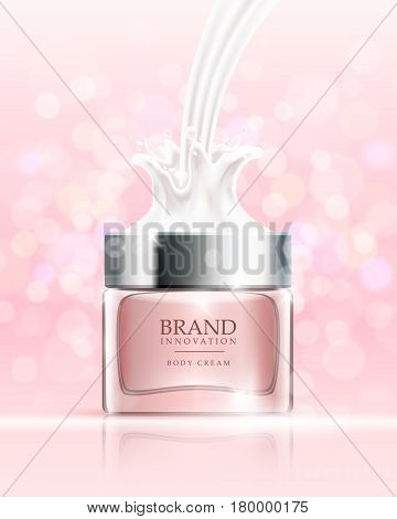 Beauty cream on pink bubbles background. Skin care product advertising concept for cosmetic industry. Vector