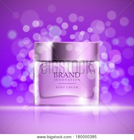 Beauty cream on purple bubbles background. Skin care product advertising concept for cosmetic industry. Vector
