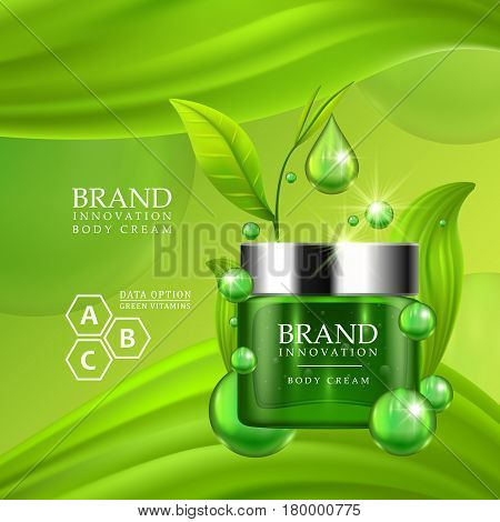 Green cream bottle with silver cap and green leaves on juicy background. Skin care vitamin formula treatment design. Beauty product advertising concept for cosmetic industry. Vector