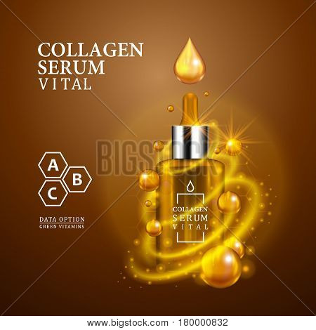 Vital serum golden dropper bottle on light brown background. Realistic bottle view with magic vital drops and glitters. Vitamin formula treatment design. Advertising concept. Vector