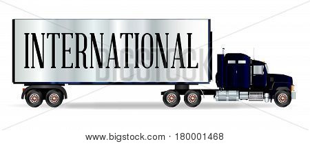 The front end of a large lorry over a white background with international inscription