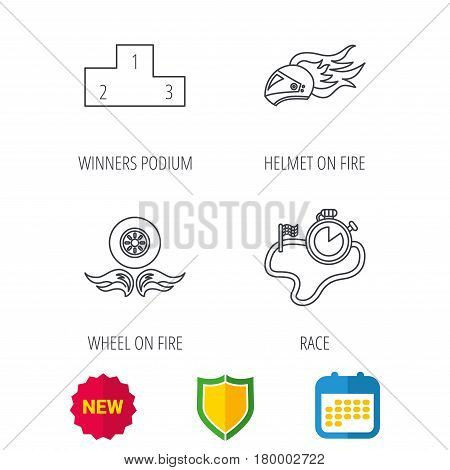 Winner podium, race timer and wheel on fire icons. Motorcycle helmet on fire linear sign. Shield protection, calendar and new tag web icons. Vector