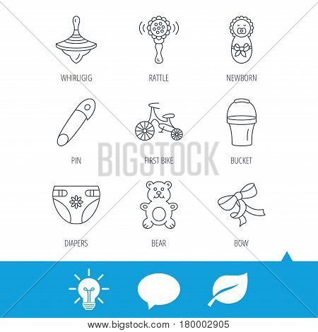 Newborn, diapers and bear toy icons. First bike, bow and pin linear signs. Rattle, whirligig and bucket flat line icons. Light bulb, speech bubble and leaf web icons. Vector