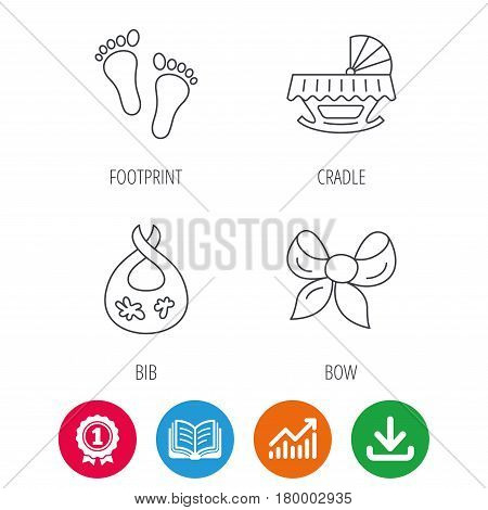 Footprint, cradle and dirty bib icons. Bow linear sign. Award medal, growth chart and opened book web icons. Download arrow. Vector