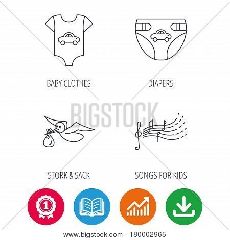 Diapers, newborn clothes and songs for kids icons. Stork with sack linear sign. Award medal, growth chart and opened book web icons. Download arrow. Vector
