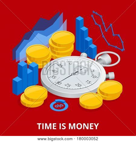 Time is money concept. Balancing Time and Money. Flat vector isometric illustration.