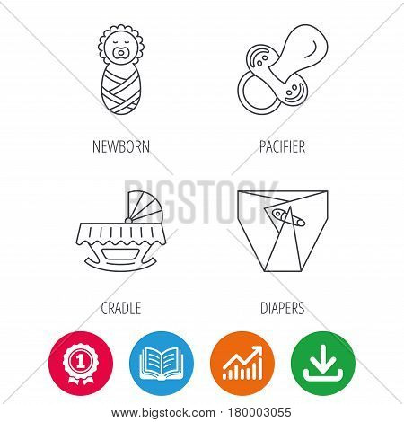Pacifier, newborn and diapers icons. Cradle bed linear sign. Award medal, growth chart and opened book web icons. Download arrow. Vector