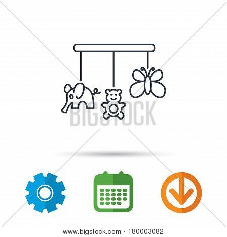 Baby toys icon. Butterfly, elephant and bear sign. Entertainment for newborn symbol. Calendar, cogwheel and download arrow signs. Colored flat web icons. Vector