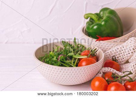 Traditional Bulgarian Salad Shopski With Fresh Vegetables And Feta