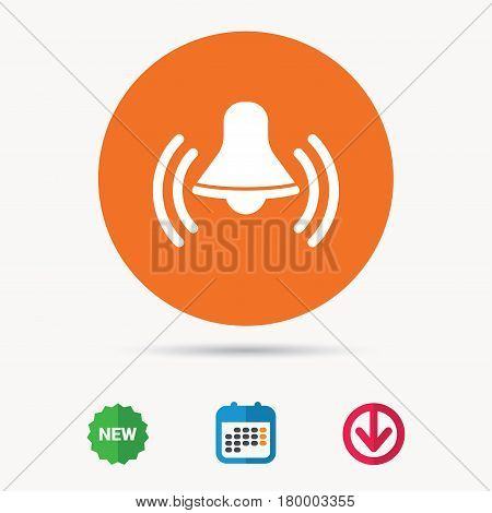 Bell icon. Reminder alarm signal symbol. Calendar, download arrow and new tag signs. Colored flat web icons. Vector
