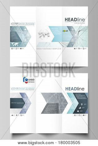 Tri-fold brochure business templates on both sides. Easy editable abstract vector layout in flat design. Chemistry pattern, connecting lines and dots, molecule structure, scientific medical DNA research.