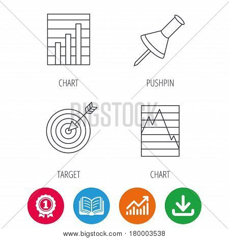 Pushpin, graph charts and target icons. Supply and demand linear signs. Award medal, growth chart and opened book web icons. Download arrow. Vector