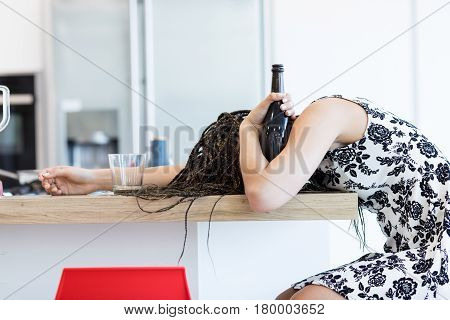 Drunk Woman With Bottle