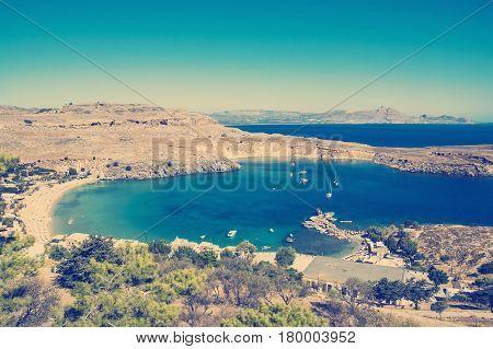 vintage effect Lindou Bay from Lindos Rhodes island, Greece.