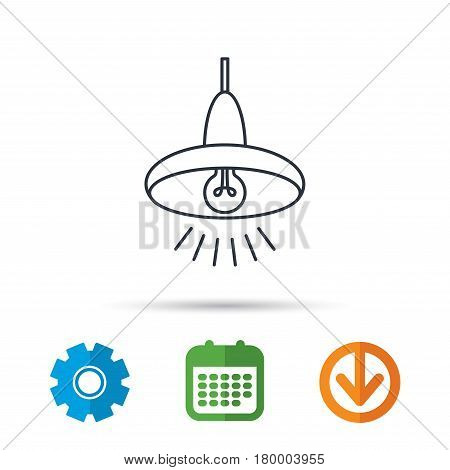 Ceiling lamp icon. Light illumination sign. Calendar, cogwheel and download arrow signs. Colored flat web icons. Vector